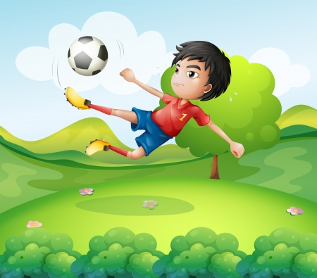Illustration of a boy kicking the soccer ball at the hilltop Stock Vector - 19389754