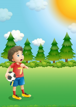 Illustration of a young football player at the hill Stock Vector - 19390028