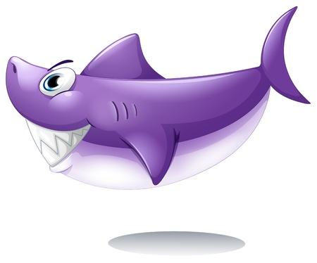 sea side: Illustration of a big smiling shark on a white background