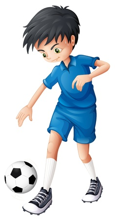 Illustration of a soccer player in his complete blue uniform on a white background Vector