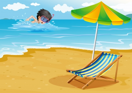 foldable: Illustration of a boy swimming at the beach with an umbrella and a foldable bed Illustration