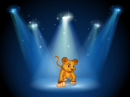 stageplay: Illustration of a tiger at the stage with spotlights