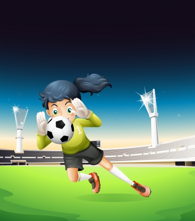 outdoor seating: Illustration of a female football player