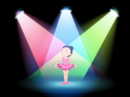 Illustration of a stage with a ballet dancer Vector