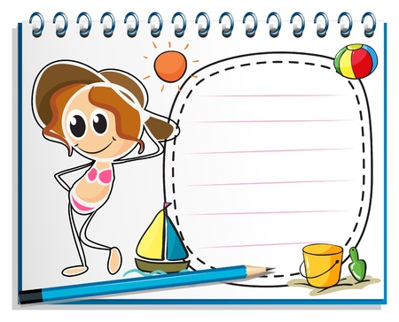 nametag: Illustration of a notebook with an image of a girl ready for summer on a white background Illustration