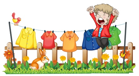 washing clothes: Illustration of a young boy jumping near the hanging clothes on a white background