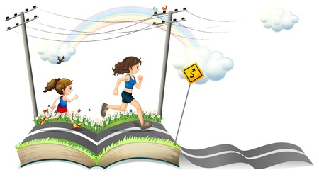 story book: Illustration of a book with a story of the narrow road on a white background