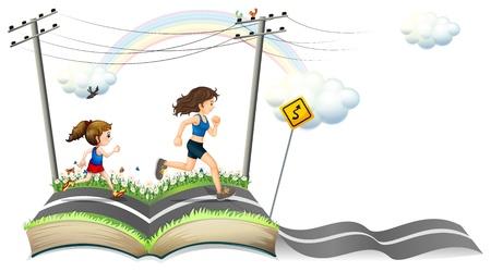 Ilustración de un libro con la historia de la estrecha carretera sobre un fondo blanco