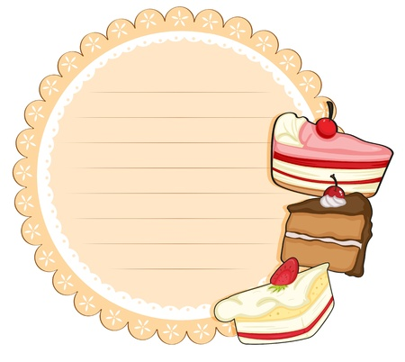 occassion: Illustration of a round stationery with cakes on a white background Illustration