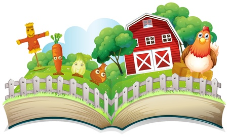 lllustration of a book with an image of a farm on a white background