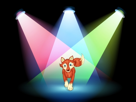 centerstage: Illustration of a fox at the stage with spotlights