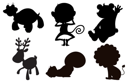 Illustration of the different animals in black, gray and brown colors on a white background Vector