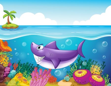 Illustration of a smiling shark under the sea with corals  Vector