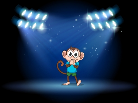 Illustration of a young monkey at the stage with spotlights Vector