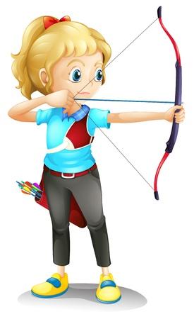 boogschutter: Illustratie van een meisje met een pijl en boog op een witte achtergrond Stock Illustratie