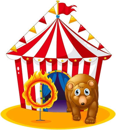 flaglets: Illustration of a red tent at the back of a bear and a flaming ring on a white background