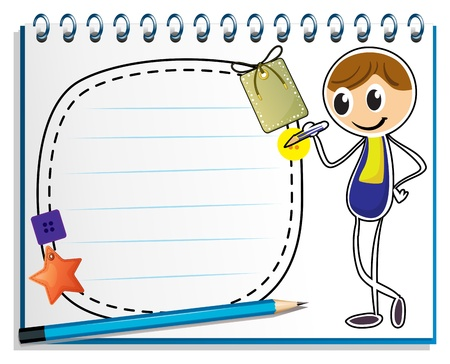 name tag: Illustration of a notebook with an image of a boy writing on a white background