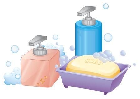 aseo personal: Ilustración de un líquido y una barra de jabón sobre un fondo blanco