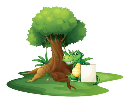 Illustration of a crocodile holding an empty signage under the tree on a white background  Stock Vector - 19389628
