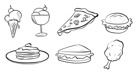 Illustration of the doodle designs of the different foods on a white background  Vector