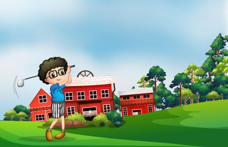 Illustration of a boy playing golf near the barn Stock Vector - 19390020