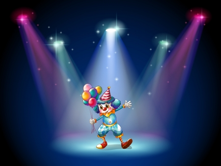 centerstage: Illustration of a clown at the center of the stage