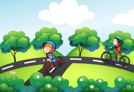 illustration journey: Illustration of a road intersecting at the hill