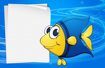 sheet menu: Illustration of a fish beside an empty bondpaper under the sea