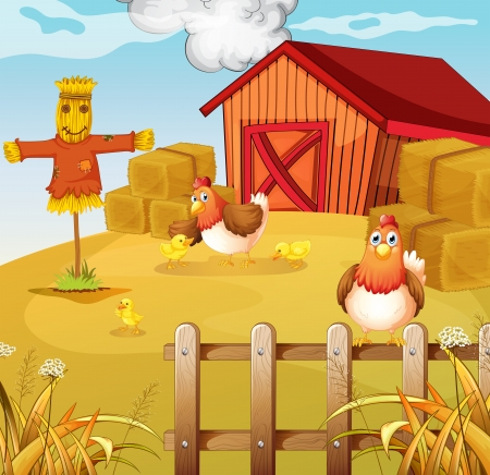 chicken farm: Illustration of a farm with two chickens and three chicks