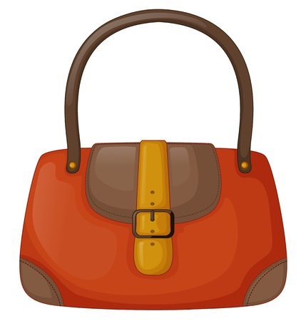 Illustration of an orange handbag on a white background Stock Vector - 19389422