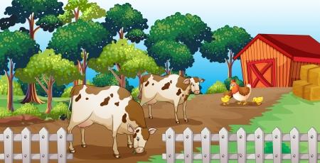 pollitos: Ilustraci�n de una granja con animales dentro de la cerca