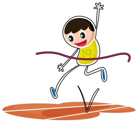Illustration of a kid jumping on a white background Vector
