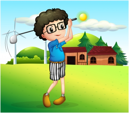 steel mill: Illustration of a little boy playing golf