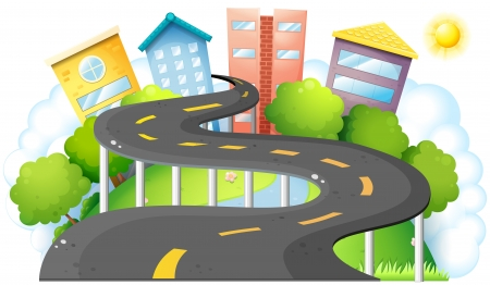 Illustration of a curve road going to the city with high buildings on a white background  Vector