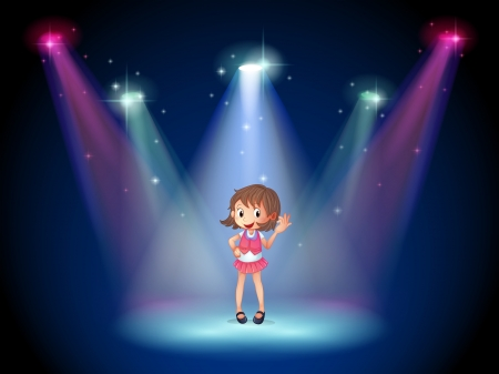 stageplay: Illustration of a cute young girl at the stage Illustration