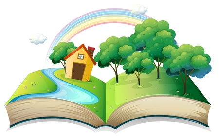 read book: Illustration of a book with a story of a house at the forest on a white background