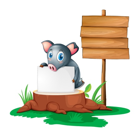 Illustration of a pig holding an empty paper on a stump beside an empty wooden signboard on a white background Stock Vector - 19389542