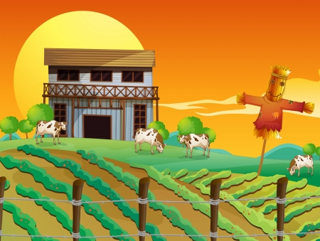 Illustration of a farm with cows and a scarecrow Vector