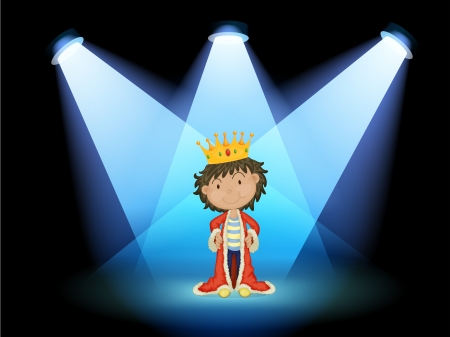 crown of light: Illustration of a king at the center of the stage Illustration