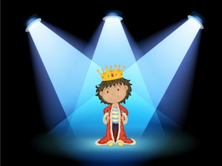 corona rey: Ilustraci�n de un rey en el centro de la escena