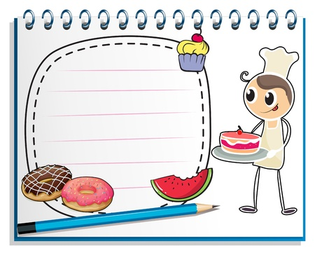Illustration of a notebook with a drawing of a chef and foods on a white background Vector
