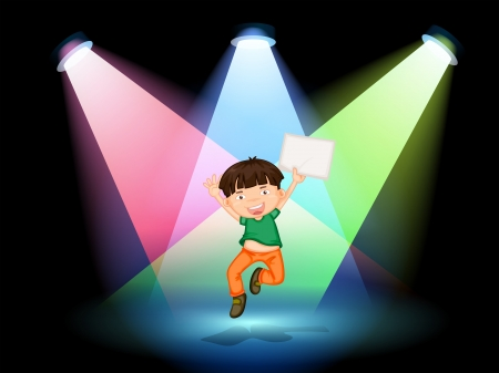 centerstage: Illustration of a young boy at the stage holding an empty paper Illustration