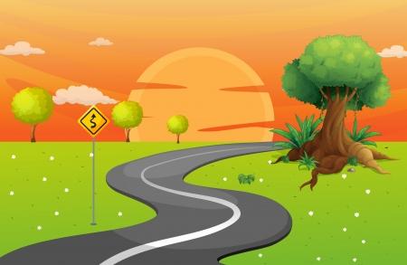 green street: Ilustraci�n de un camino sinuoso Vectores