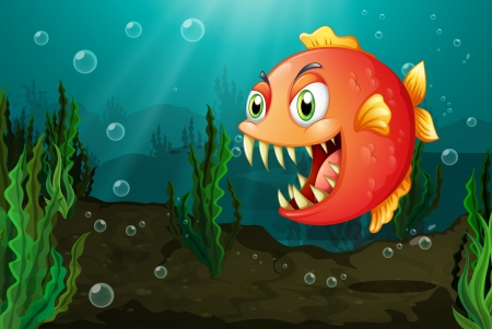 natural resources: Illustration of a piranha under the sea with seaweeds Illustration