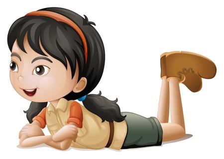Ilustración de una niña acostada sobre un fondo blanco