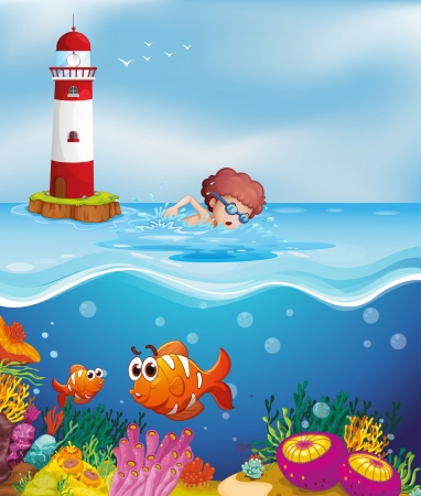 parola: Illustration of a boy swimming with fishes and corals at the beach