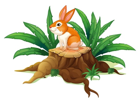 timber cutting: Illustrtion of a bunny sitting on a stump with green leaves  on a white background