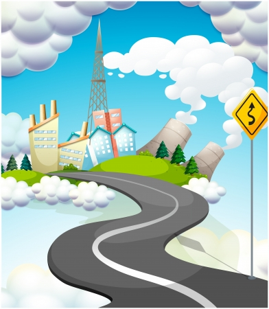 Illustration of a curve road with a yellow signage Illustration