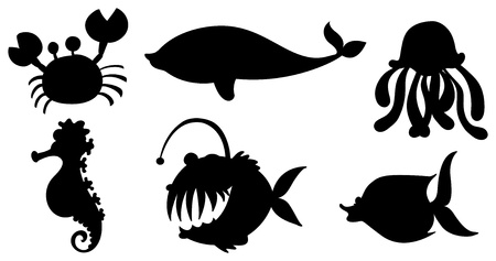 Illustration of the sea creatures in black colors on  a white background Vector