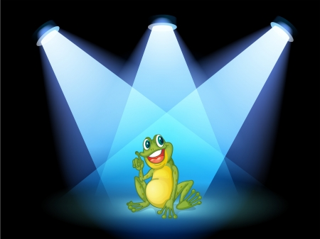 Illustration of a frog on the stage with spotlights